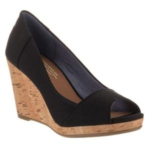 Toms Women's Stella Peep Toe Wedge Pumps Black NEW